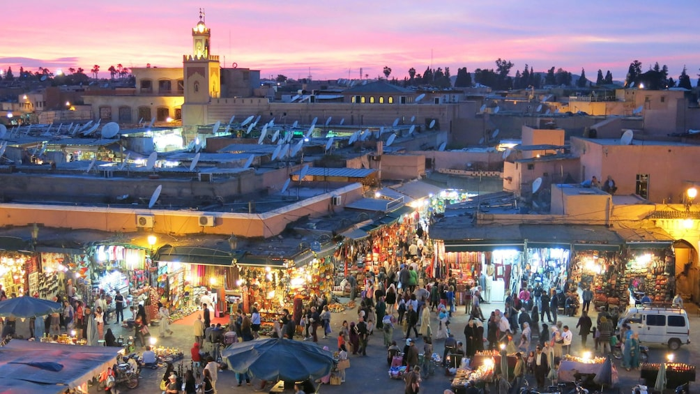View of Jemaa el-Fnaa square from Le Salama restaurant