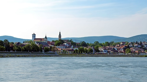 View of a city from the Danube river near Budapest