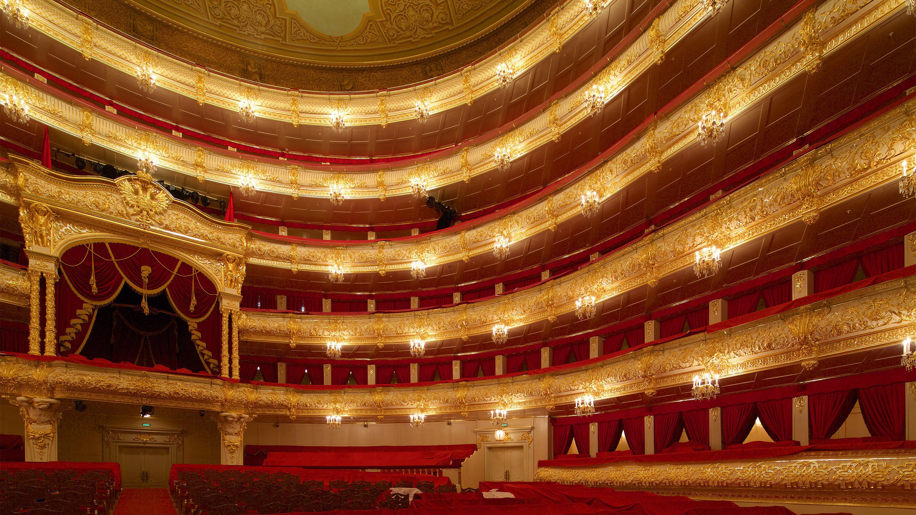 The lavish interior of a theater in Moscow
