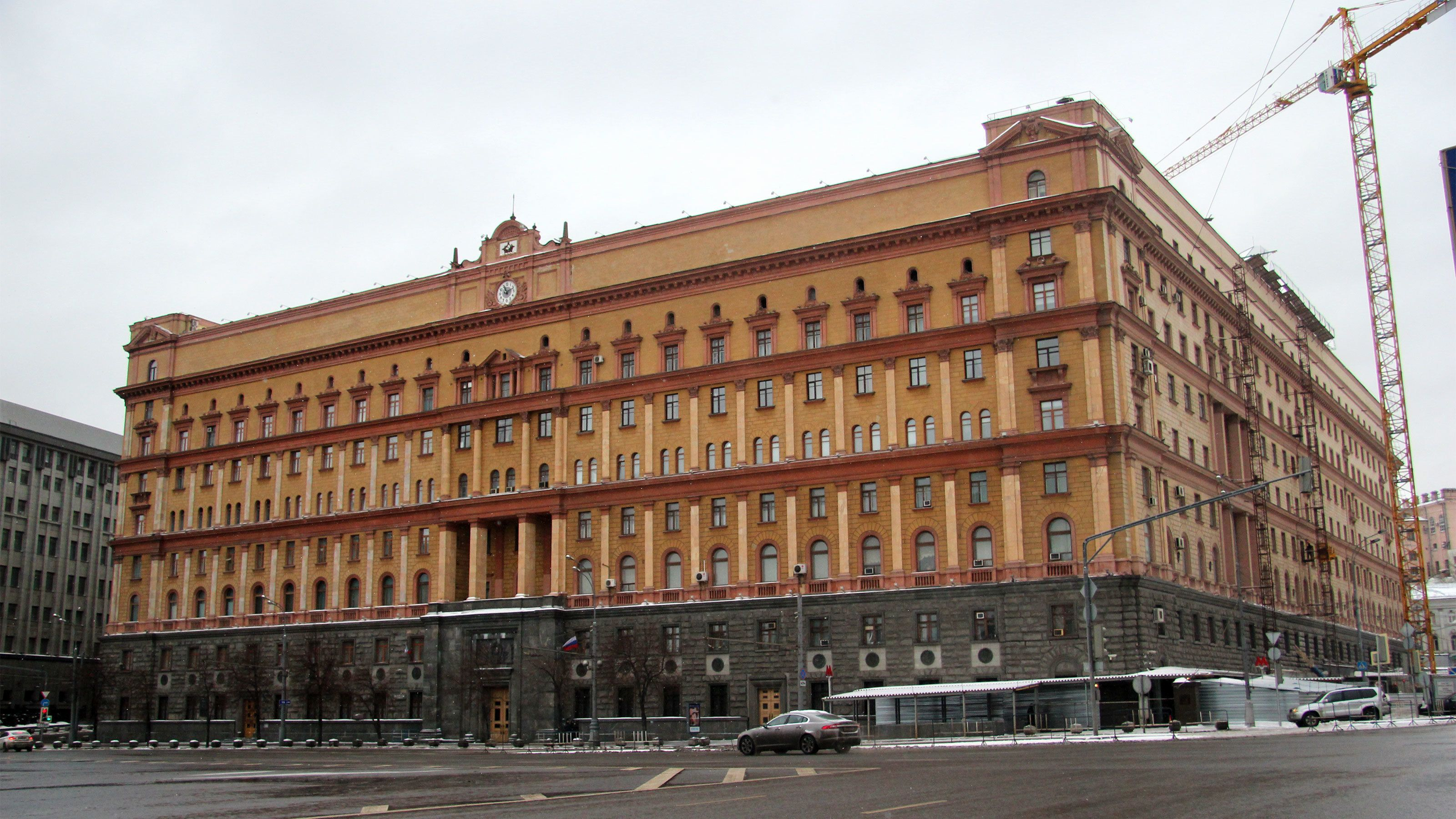 The facade of an old communist building in moscow