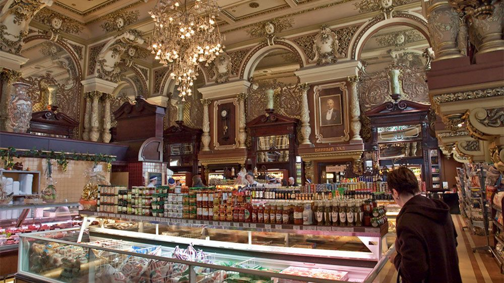 The ornate interior of a market in Moscow