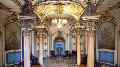 the ornate interior of a russian bath in Moscow