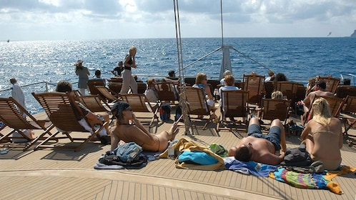 People on the deck of a Supercat Boat in Gran Canaria