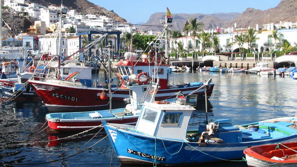 Boats anchored in a harbor in Gran Canaria