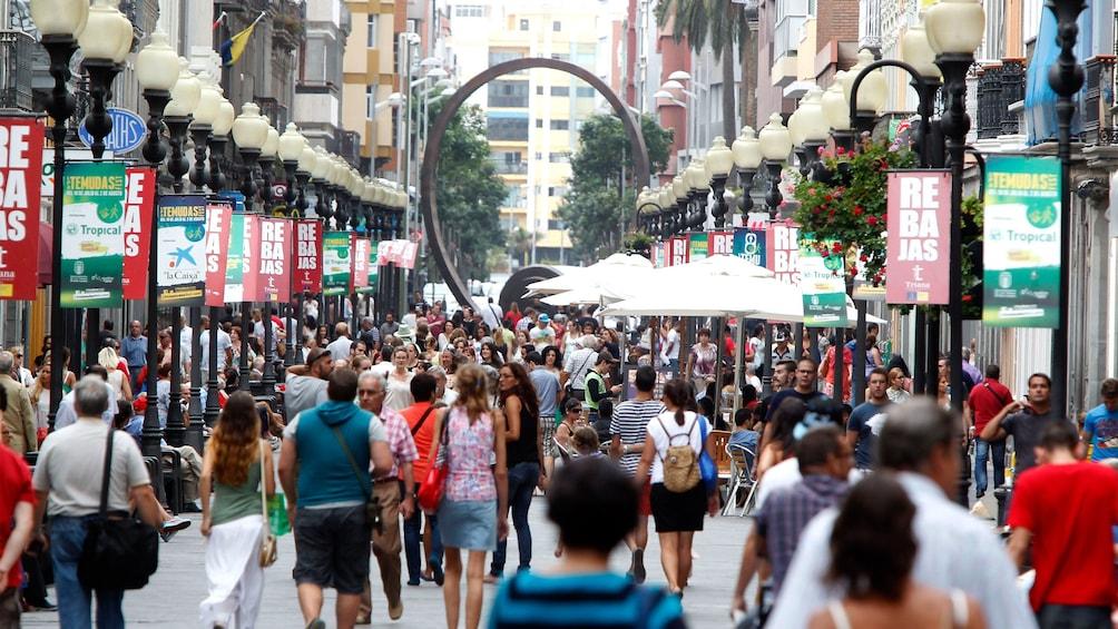 Show item 1 of 5. Crowded pedestrian street in Las Palmas de Gran Canaria
