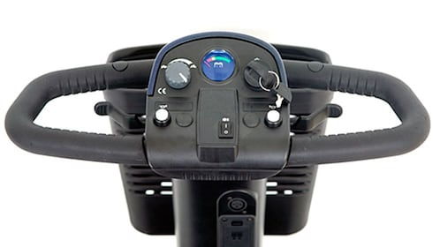 the dials and ignition of the scooter at the rental store in Las Vegas