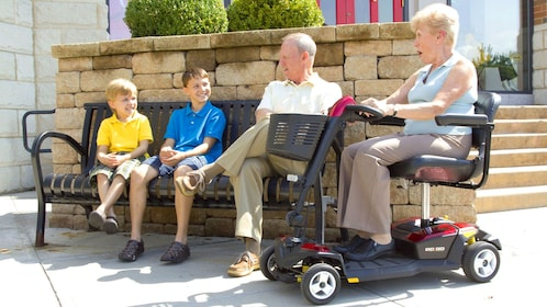 elderly woman on scooters accompanying grandsons in Las Vegas