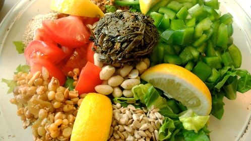 Vegetables, fruit, and grain on a plate