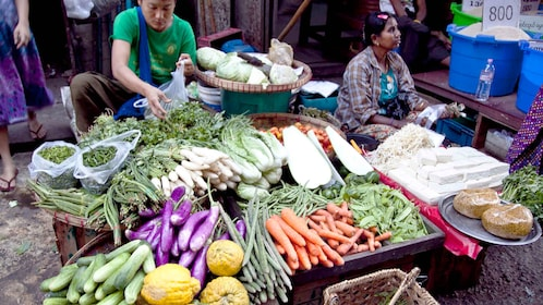 shopping for produce at the market in Yangon