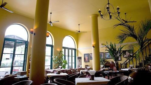 interior dining space with large windows in Yangon