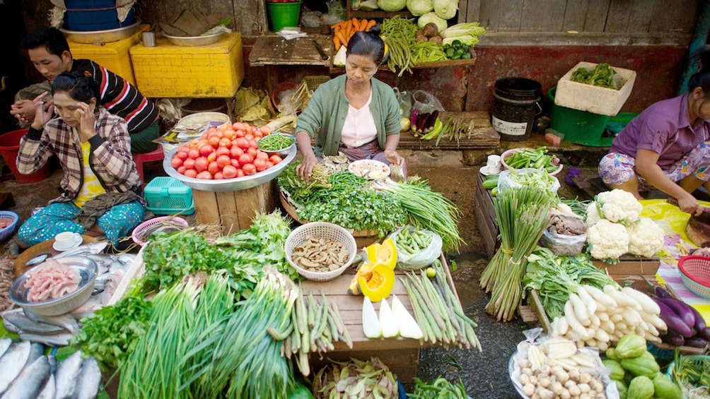 buying fresh ingredients at the local market in Yangon
