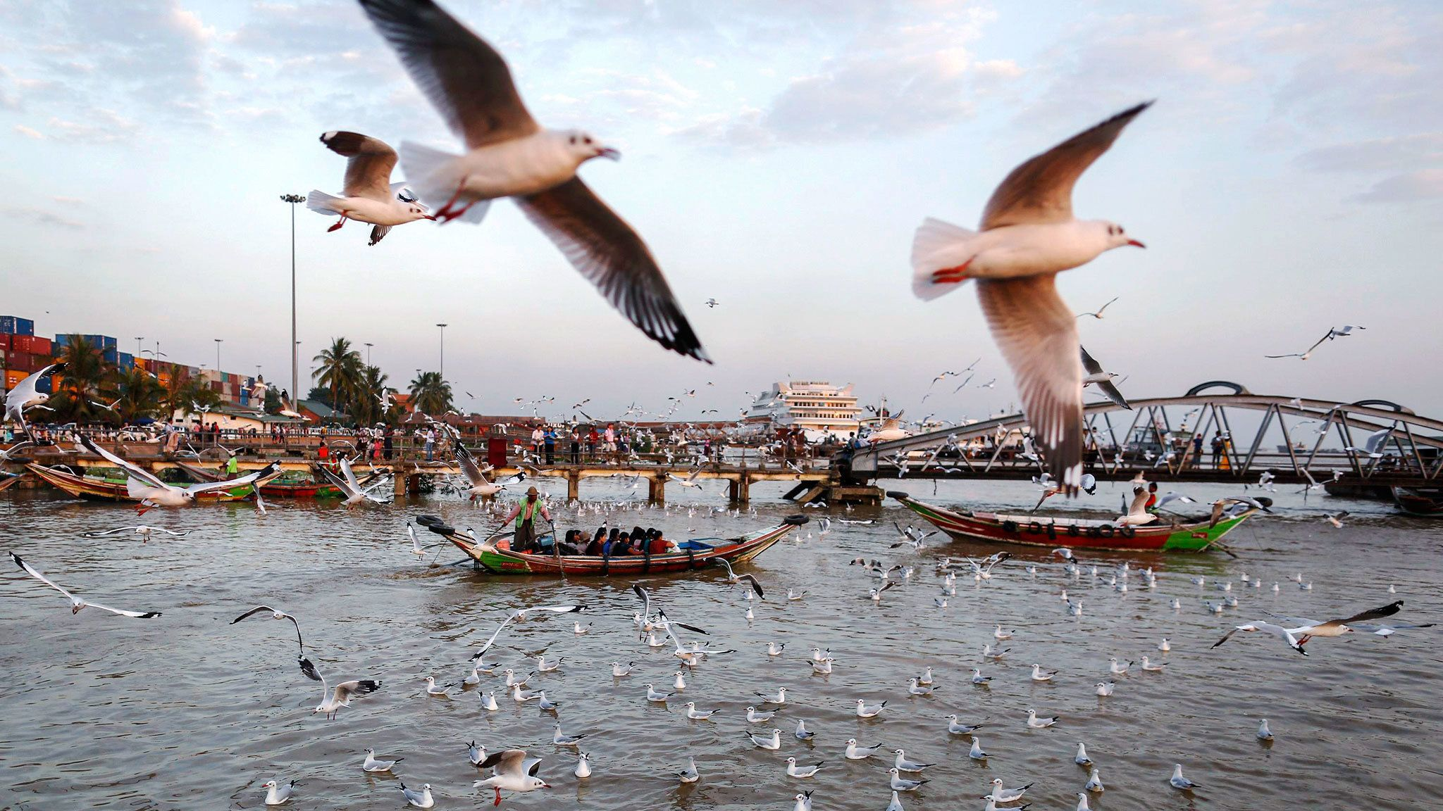 Boats surrounded by seagulls on the Yangon River in Myanmar
