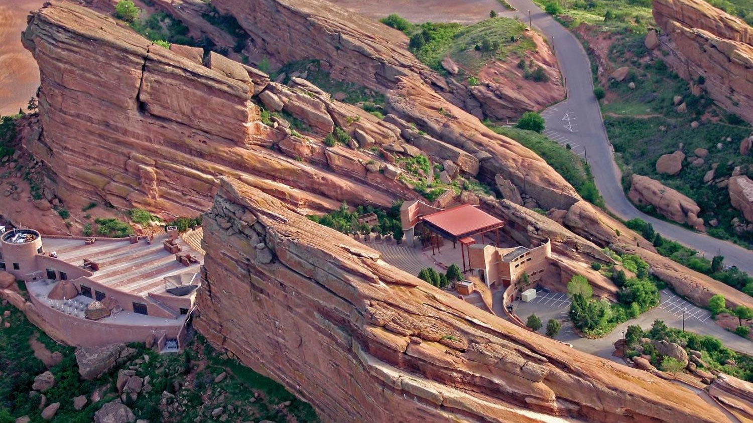 Aerial view of the Red Rocks Amphitheater in Denver