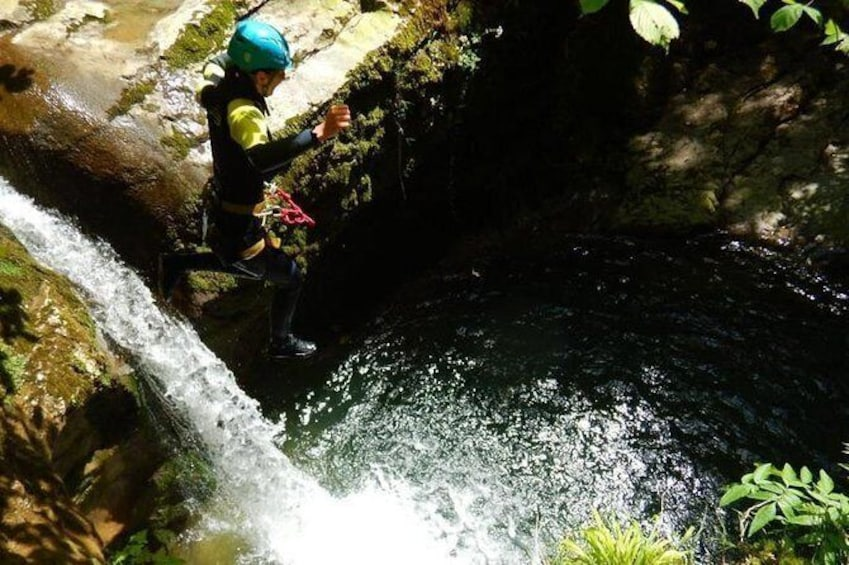 Sports canyoning in the Vercors near Grenoble