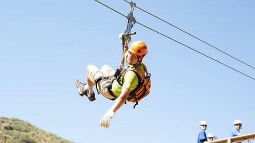 Zipling man on Catalina Island