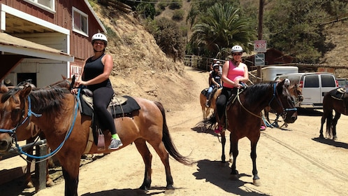 Horseback riding group at Sunset Ranch in Hollywood