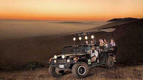 rugged safari vehicle navigating the dark on Catalina Island