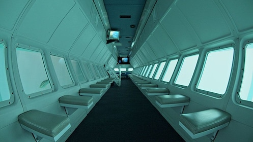 rows of seating inside the submerged compartment of an ocean vessel at Catalina Island