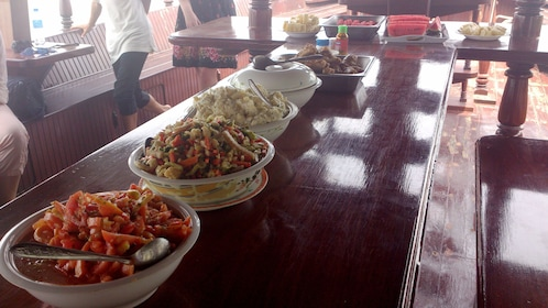Buffet lunch on a boat in Thailand