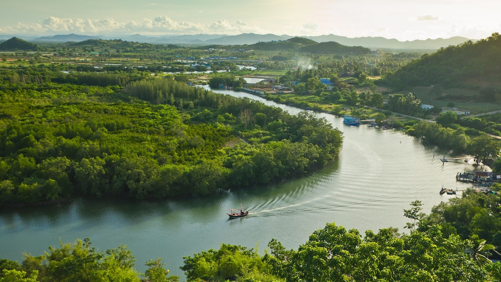 แสดงภาพที่ 1 จาก 4 Panoramic view of the Pranburi river and surrounding forests in Thailand