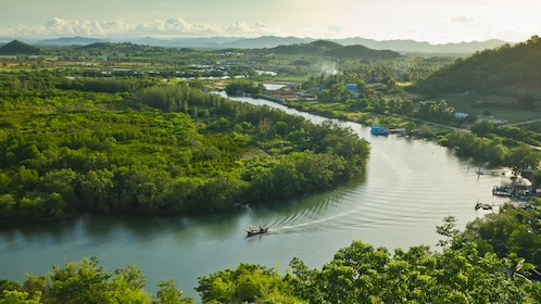 Panoramic view of the Pranburi river and surrounding forests in Thailand
