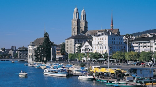 City along the bank of the Limmat River in Zurich