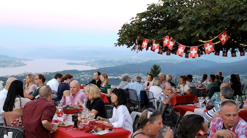 Outside dining with a scenic view of Zurich below