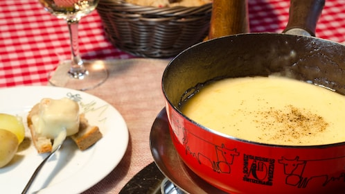 Cheese fondue at a restaurant in Zurich