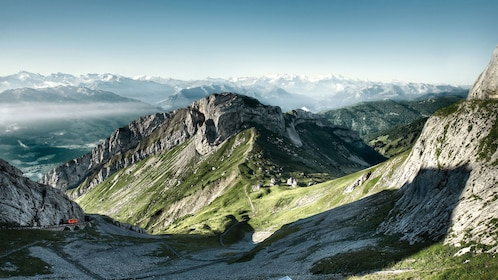 Panoramic view of the Swiss Alps from Mount Pilatus in Lucerne