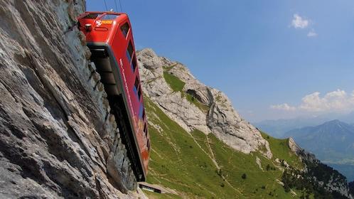 Mountainside train ride on Mount Pilatus in Lucerne
