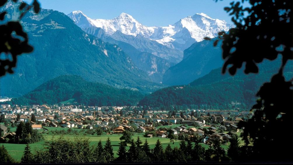 Urban and mountainous landscape in Zurich