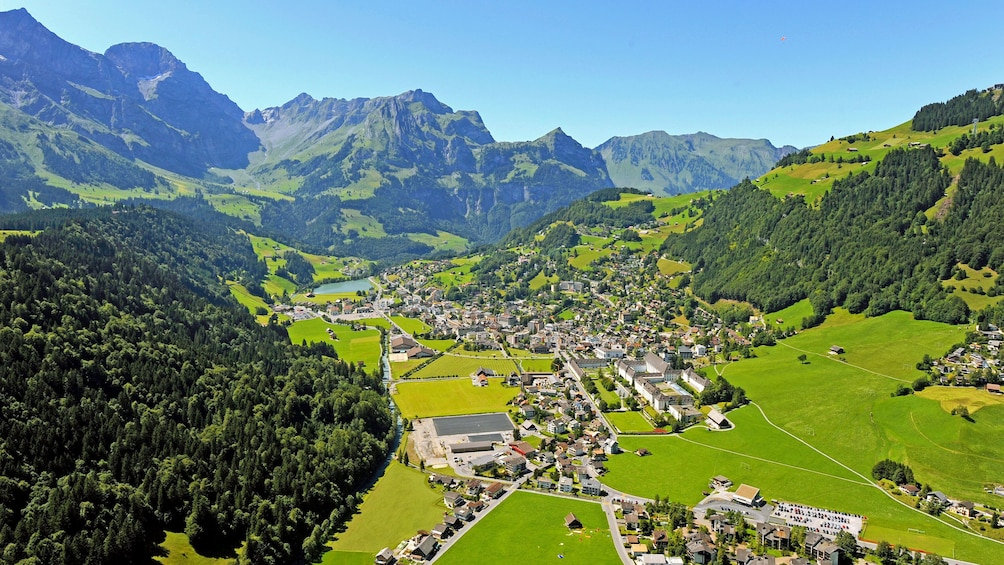 Town of Engelberg nestled in the mountains in Switzerland