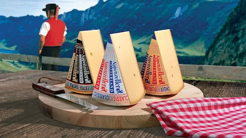Cheese plate with the Swiss Alps in the background in Zurich