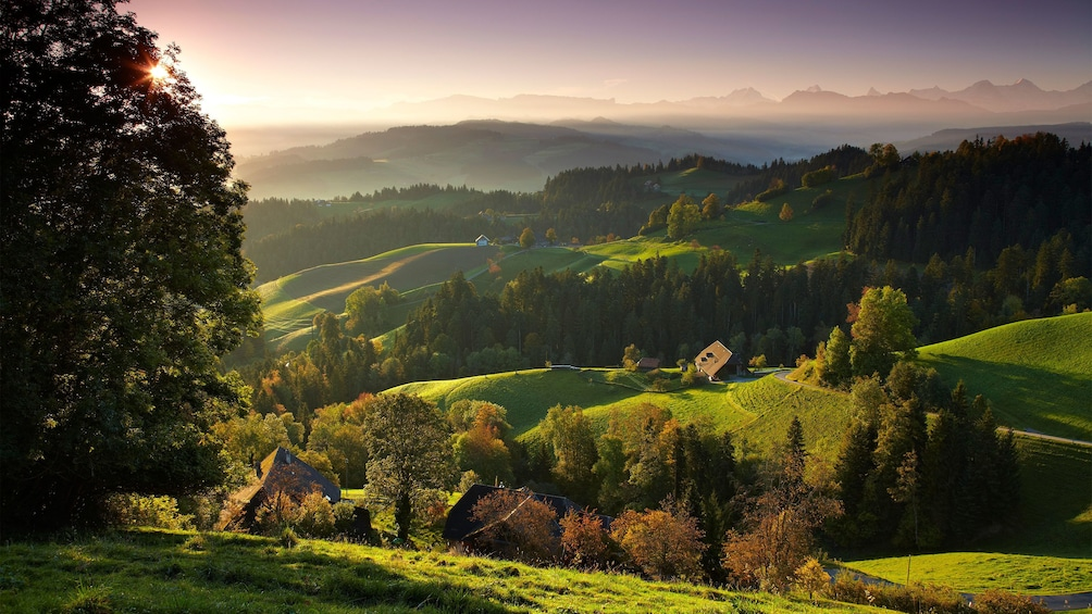 Panoramic view of the hills and forests of Bern