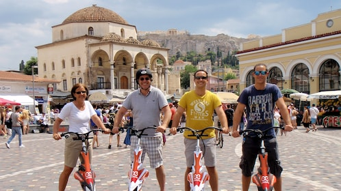 group on electric tri scooters exploring the city of Athens