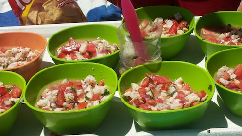 preparing seafood for lunch on the boat in Mexico