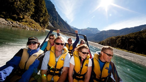 passengers on a speeding jet boat in New Zealand