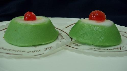 Two Green pistachio desserts