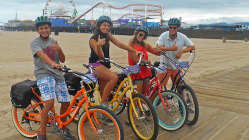friends on bicycles in california