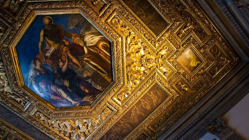 Gilt ceiling detail inside the Doge Palace in Venice