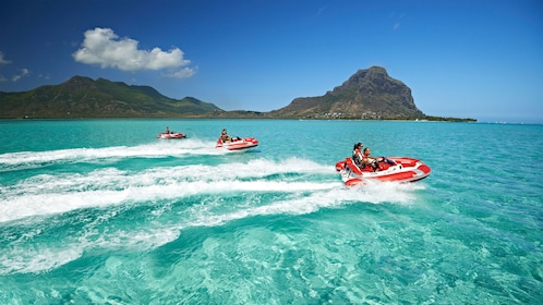 Tourists venture out onto the Mauritius lagoons