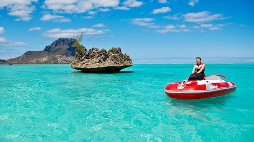 Woman riding a Sea Kart in the Mauritius lagoons