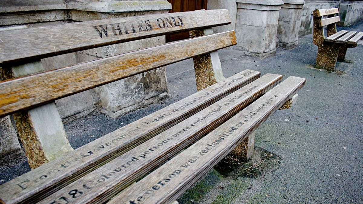 Historic bench to illustrate the time of apartheid in South Africa