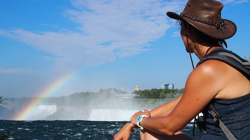 Tourist enjoying the view of Niagara Falls
