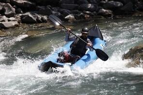 Hot dog (inflatable canoe) on the Ubaye