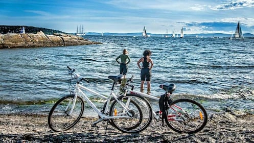 Bikers taking a break at the beach in Oslo