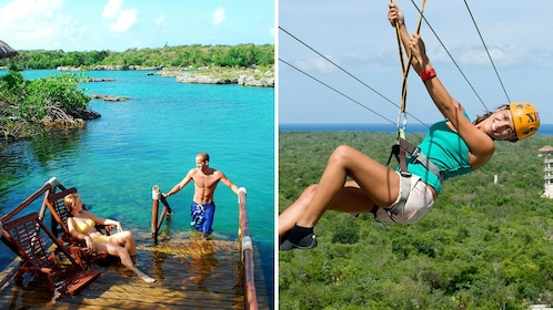 Combo image with a couple relaxing on a floating dock at Xel-Ha Park and a ziplining woman in Riviera Maya
