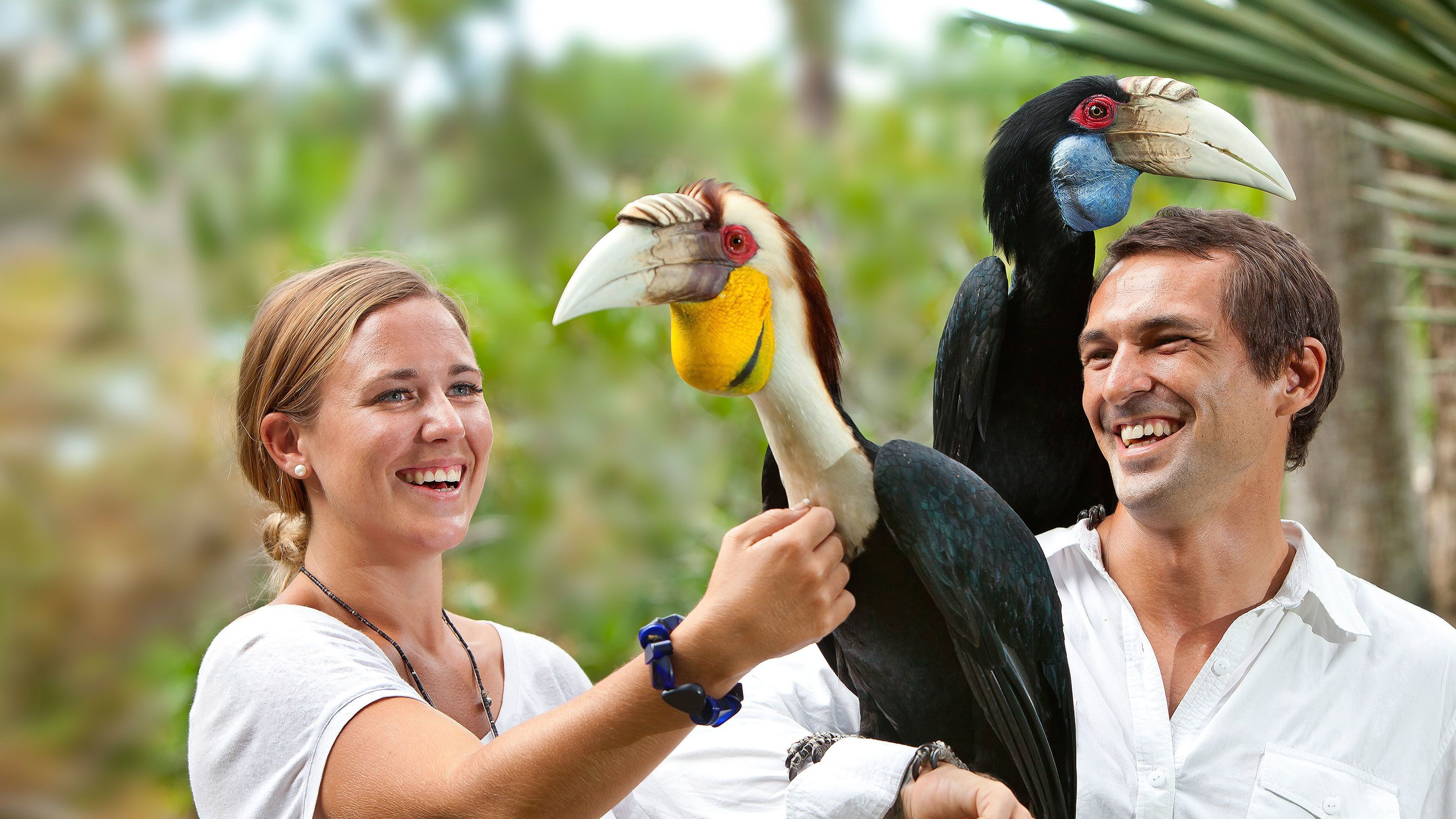 Two people holding exotic birds at Bali Bird Park
