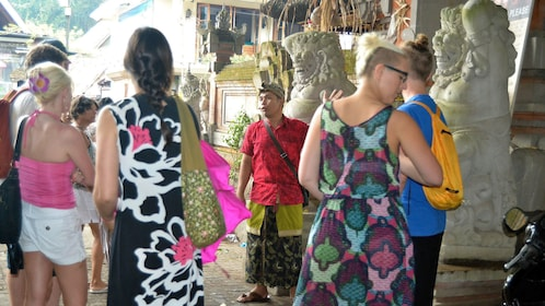 Tour group at a market in Bali