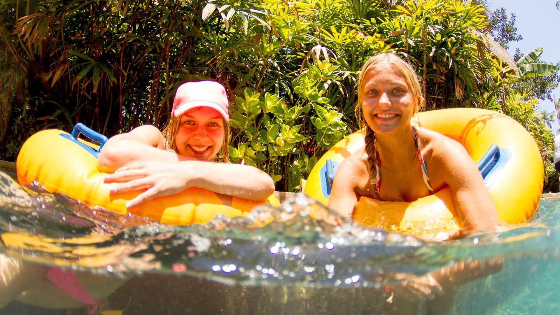 Two women on a lazy river